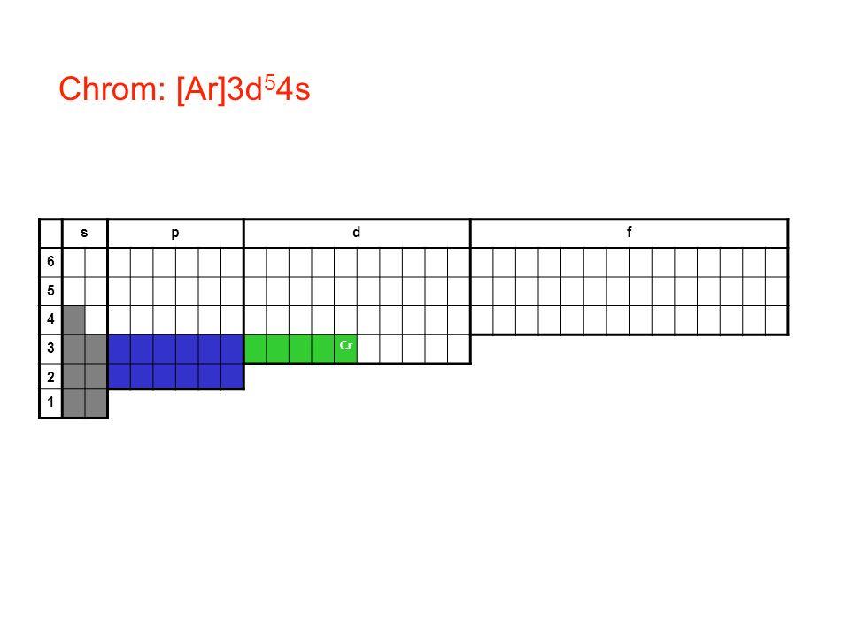 Chrom: [Ar]3d54s s p d f 6 5 4 3 Cr 2 1